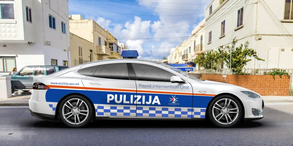 if we had police cars in Malta that were Tesla