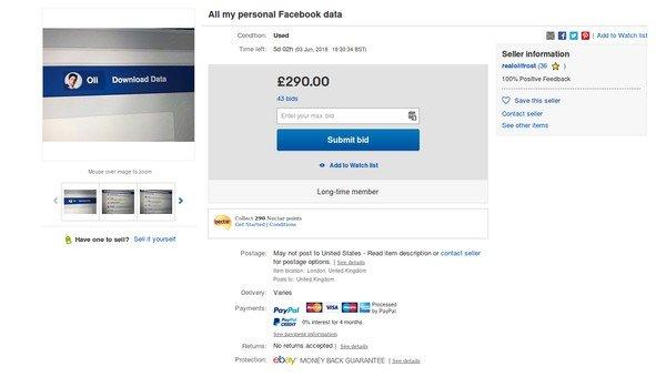 listing selling facebook data ebay