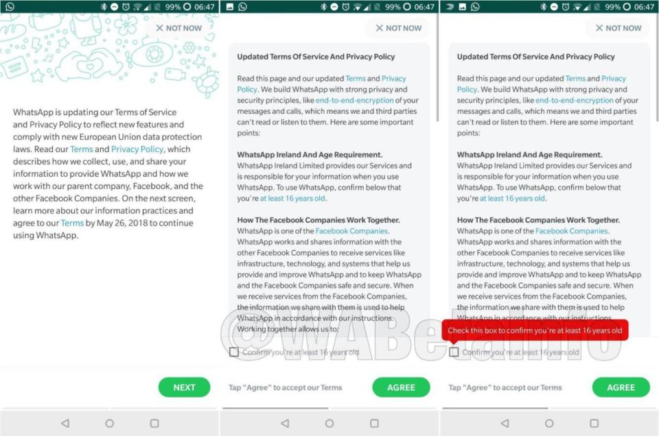 Whatsapp's new privacy policy for under 16s