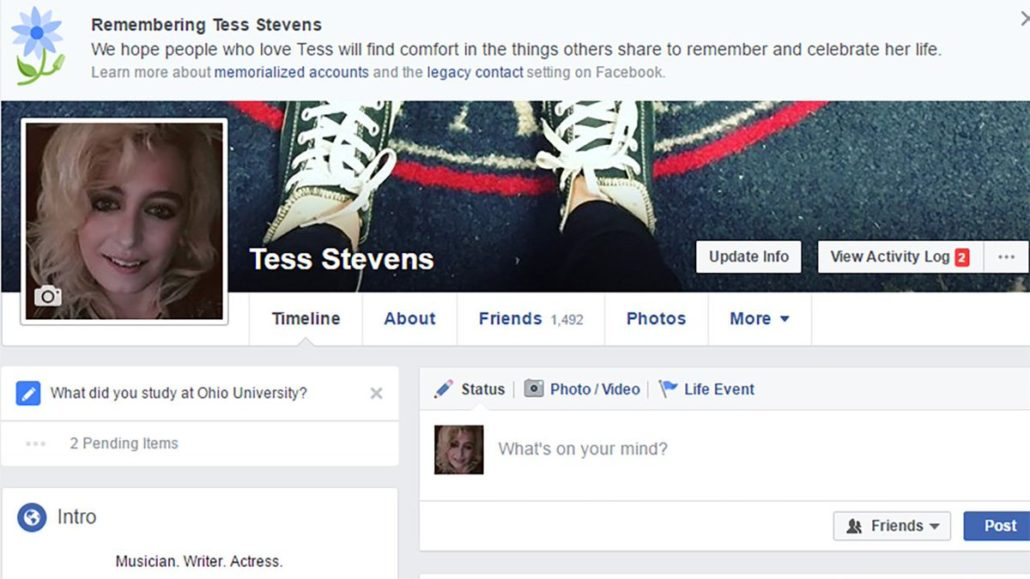 dead person facebook profile