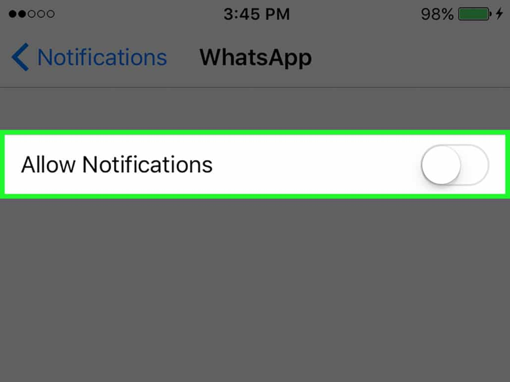 turn off notifications whatsapp iphone ios