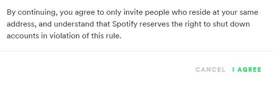 Spotify Family Warning