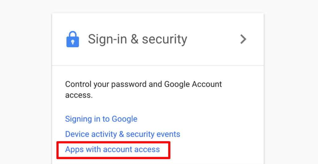 apps with account access Google
