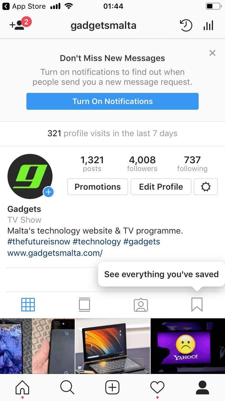Instagram profile Gadgetsmalta