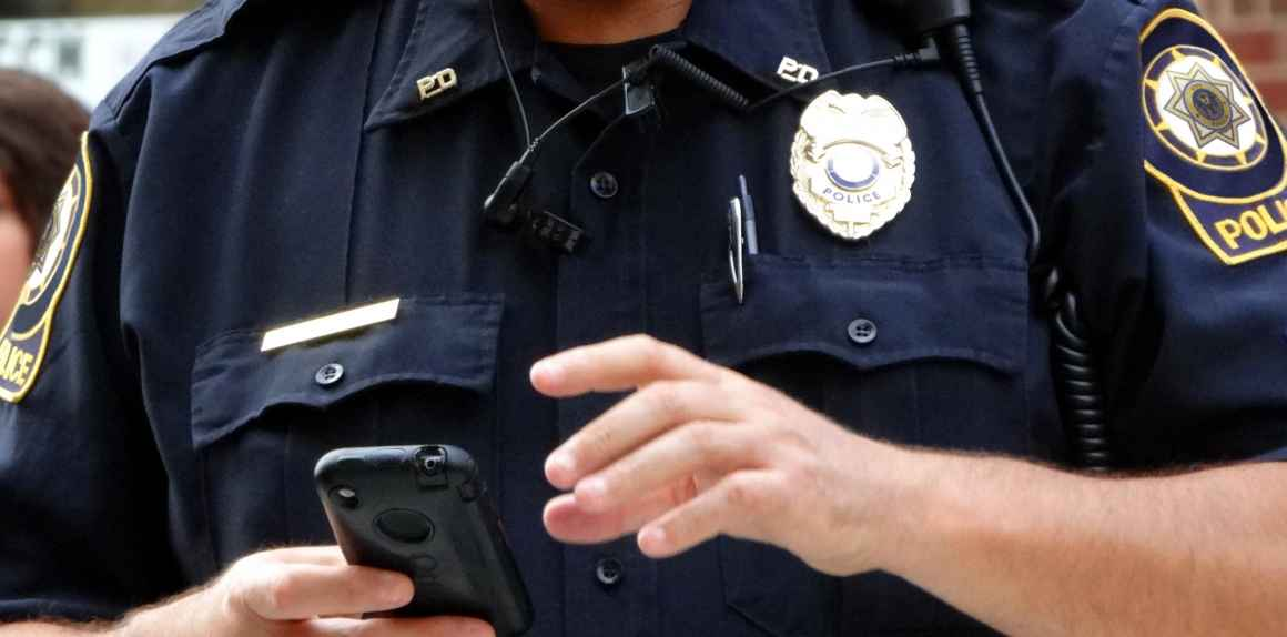Officer searching phone