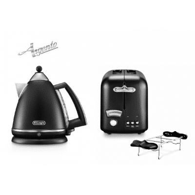 argento kettle and toaster set black